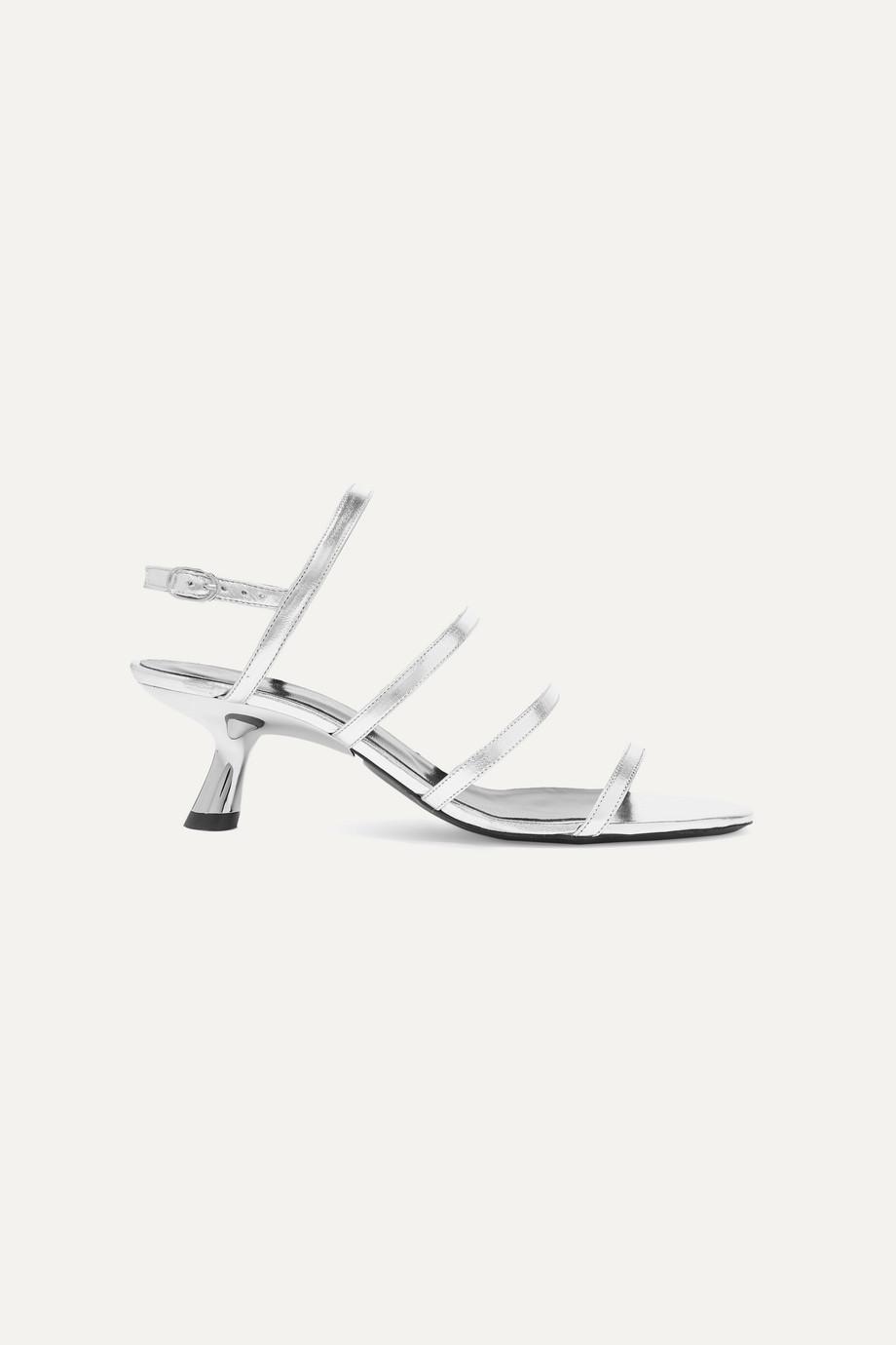 SIMON MILLER Strappy Tee Slingback-Sandalen aus Leder in Metallic-Optik