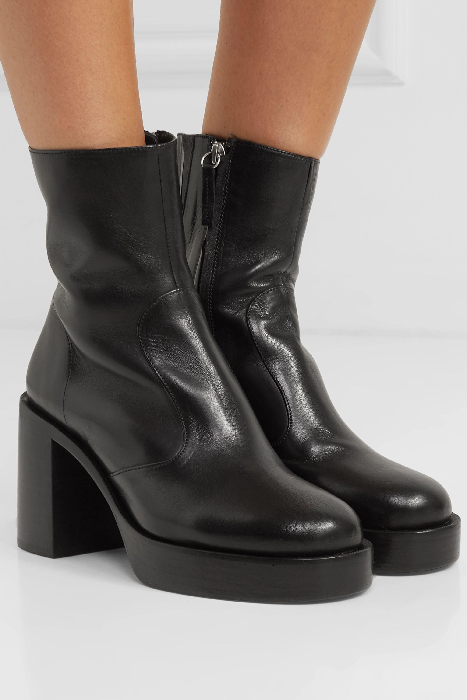 Low Raid leather platform ankle boots