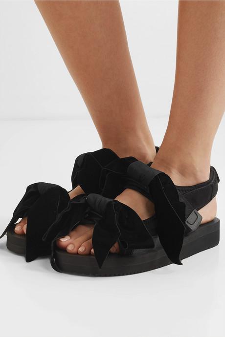 + Suicoke April bow-embellished neoprene and velvet sandals