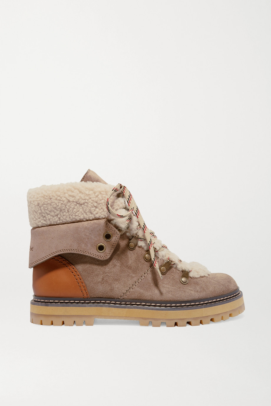 See By Chloé Shearling and leather-trimmed suede ankle boots
