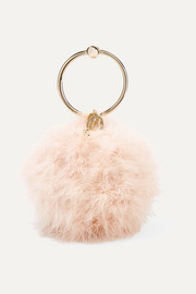 Milady feather-embellished clutch