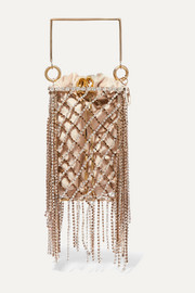 Rimbaud fringed crystal-embellished gold-tone and velvet tote