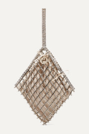 Honore crystal-embellished gold-tone and velvet tote
