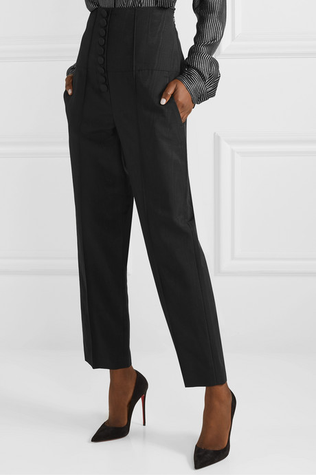 Stevie cotton and silk-blend moire straight-leg pants