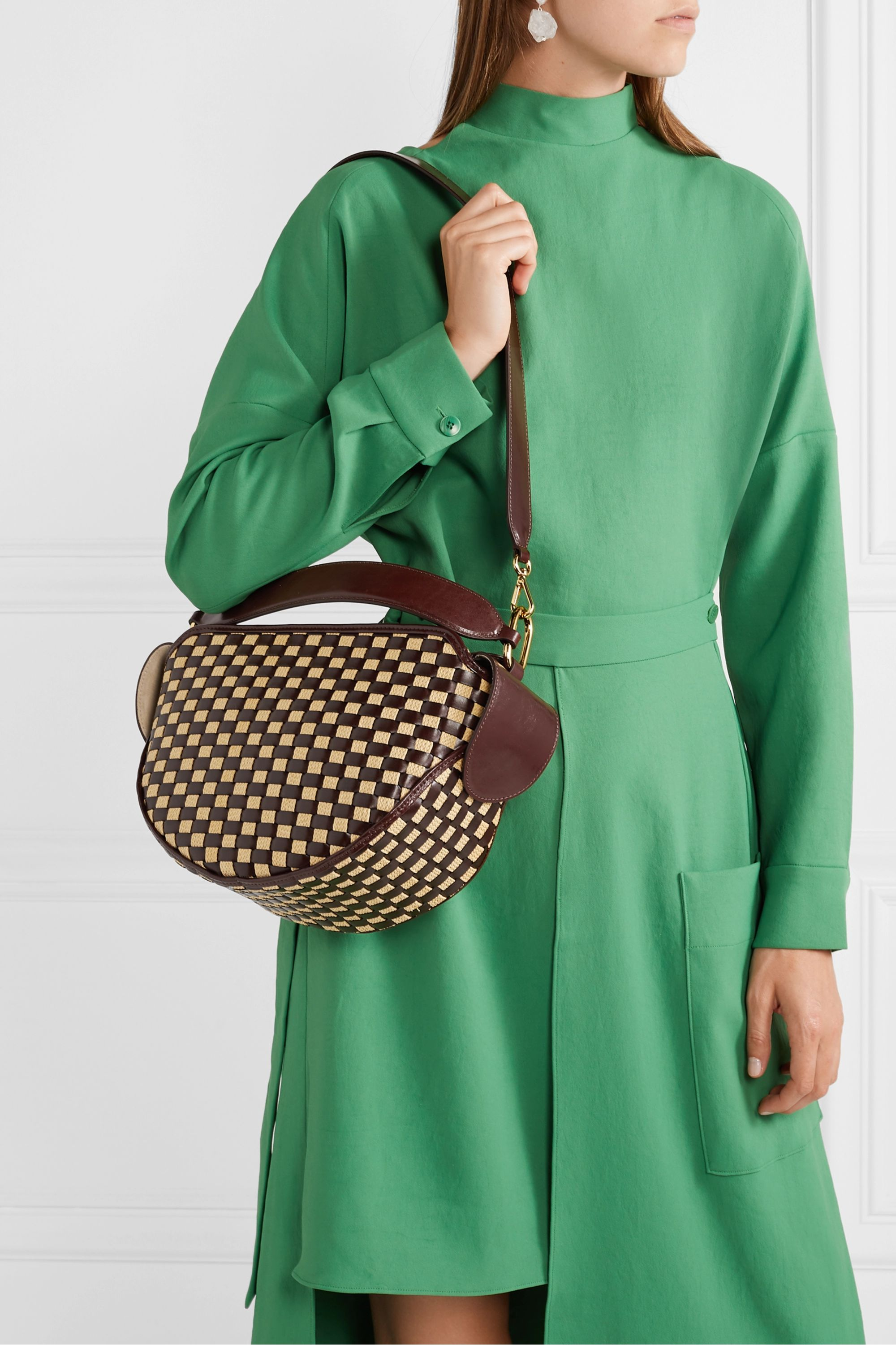 Wandler Yara woven glossed leather and raffia shoulder bag