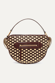Yara woven glossed leather and raffia shoulder bag