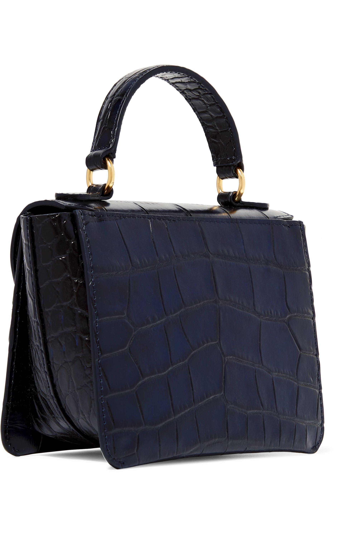Wandler Luna mini glossed croc-effect leather shoulder bag