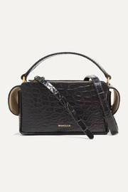 Yara Box glossed croc-effect leather shoulder bag