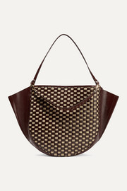 Mia large woven raffia and glossed leather tote