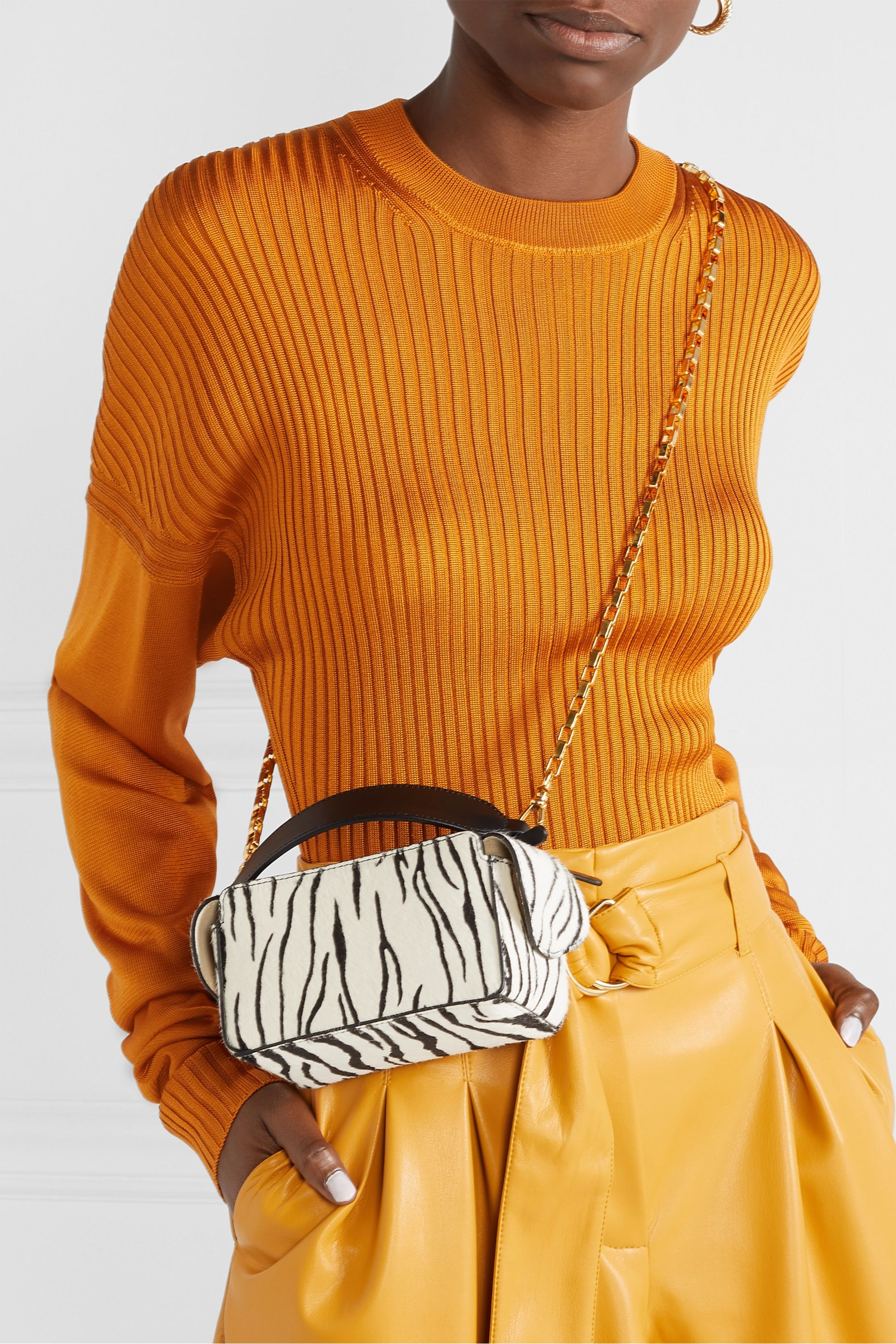 Wandler Yara Box leather-trimmed zebra-print calf hair shoulder bag
