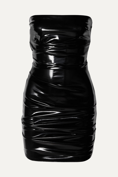 Carter Strapless Ruched Vinyl Mini Dress by Alex Perry