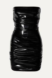 Alex Perry Carter strapless ruched vinyl mini dress