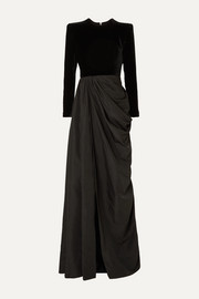 Alex Perry Chandler draped taffeta and velvet gown