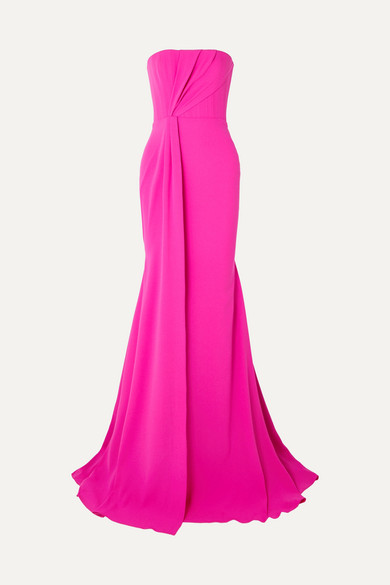 Alex Perry Garnet strapless draped crepe and satin gown