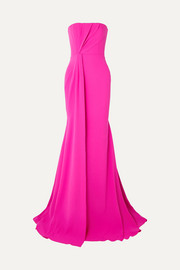 Garnet strapless draped crepe and satin gown