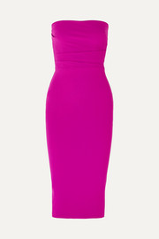 Dylan strapless ruched crepe dress