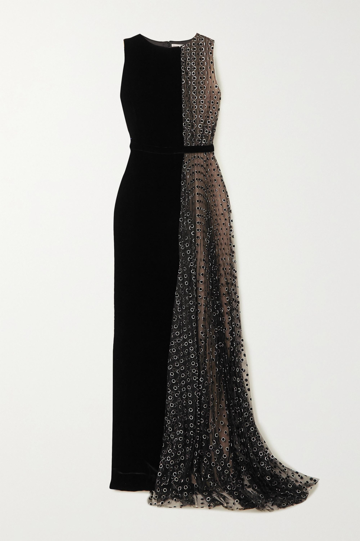 Ralph & Russo Velvet and glittered polka-dot flocked tulle gown