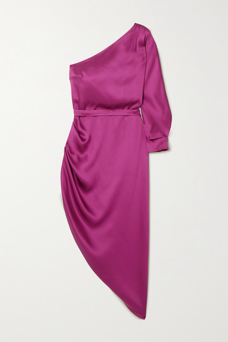Plum One-sleeve draped silk-satin midi dress | Ralph & Russo NQx1aQ
