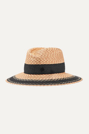Maison Michel Grosgrain-trimmed straw hat