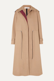 Oversized drawstring cotton-blend gabardine trench coat