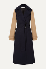 Two-tone wool-gabardine and cotton-blend canvas trench coat