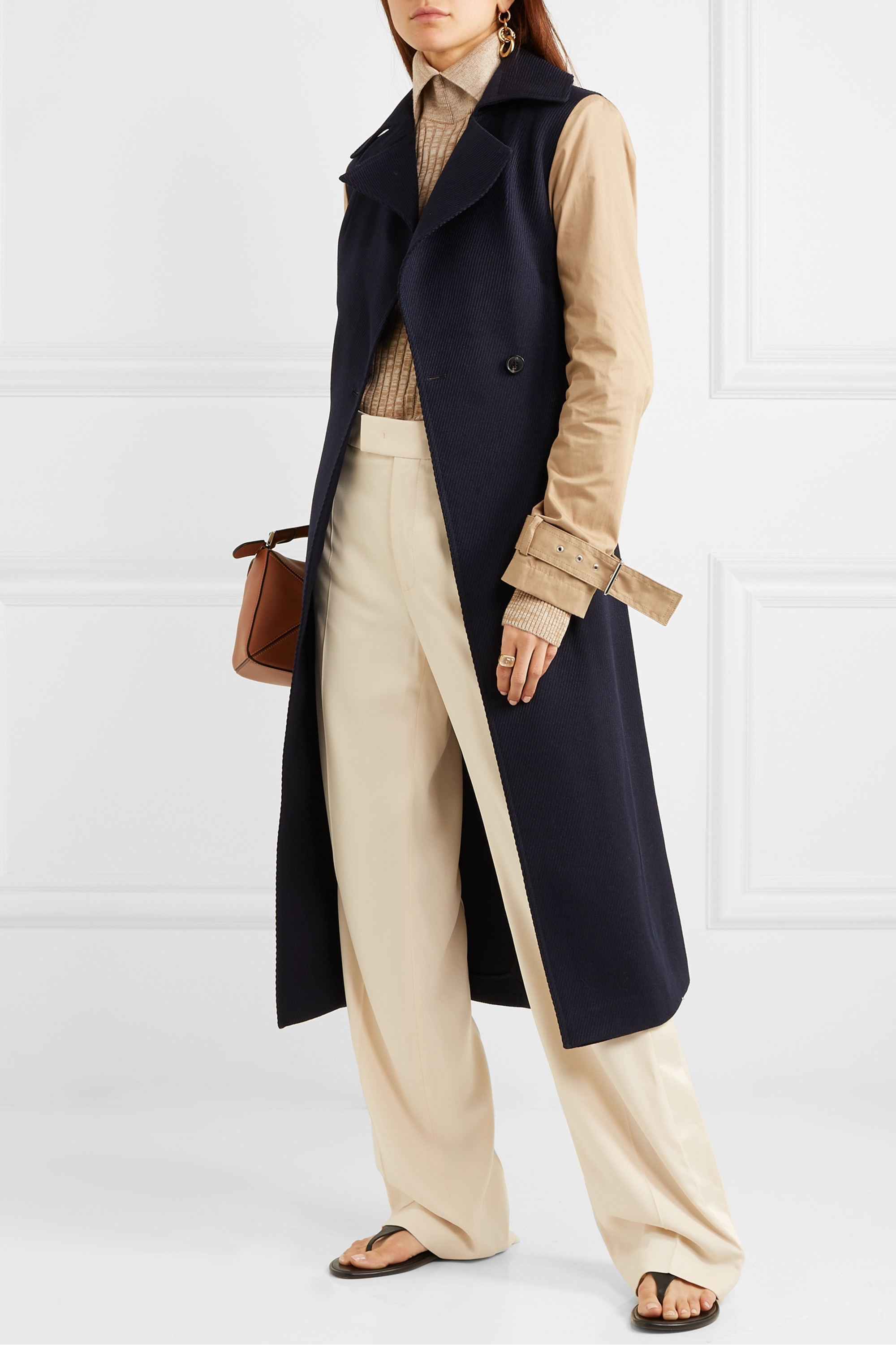 Victoria Beckham Two-tone wool-gabardine and cotton-blend canvas trench coat
