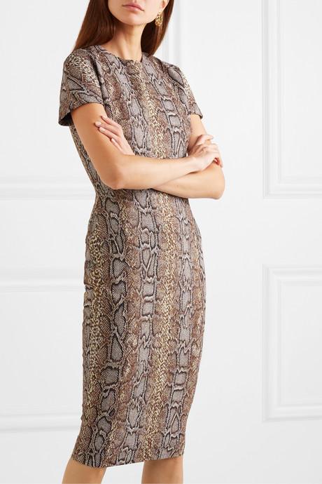Cotton-blend snake-jacquard dress