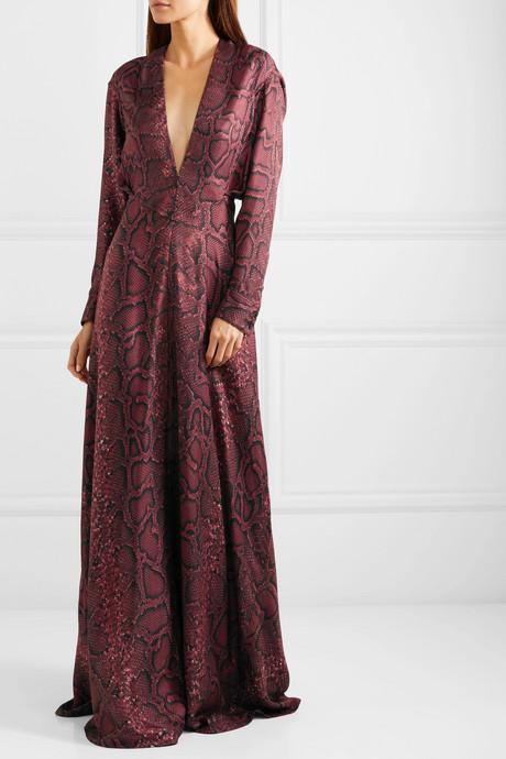 Snake-print silk-satin gown