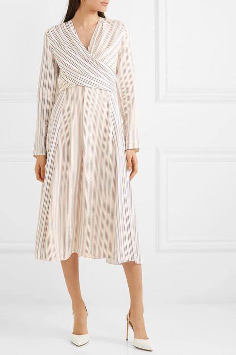 Wrap-effect striped crepe midi dress