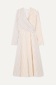 Wrap-effect striped crepe midi dress