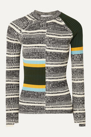 Victoria Beckham Striped ribbed cotton-blend sweater