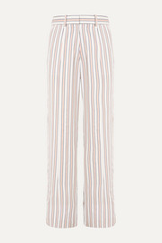 Striped crepe de chine pants