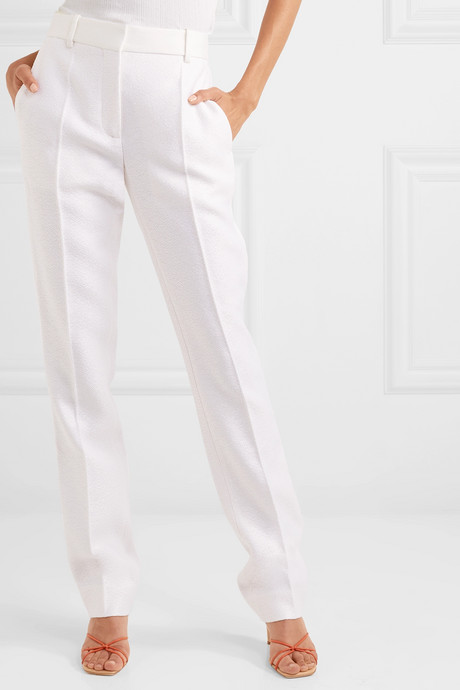 Satin-trimmed woven straight-leg pants