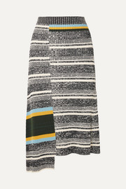 Victoria Beckham Asymmetric striped ribbed cotton-blend midi skirt