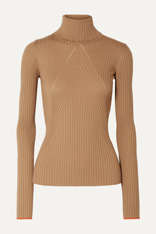Victoria Beckham Paneled ribbed wool turtleneck sweater
