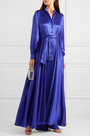 Tie-detailed silk-satin gown