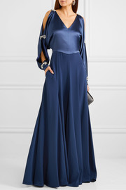 Embellished cold-shoulder satin gown