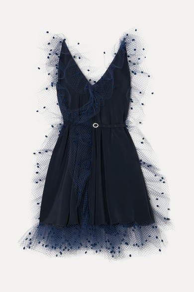 61be3585b382 Alexis Mabille. Crystal-embellished belted tulle-trimmed stretch-crepe mini  dress