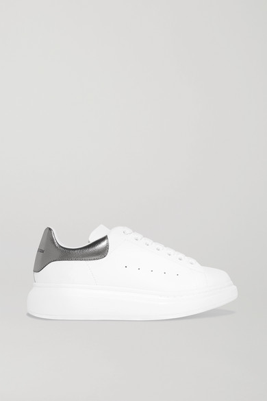 Alexander Mcqueen 40Mm Leather Sneakers W/ Metallic Detail In White