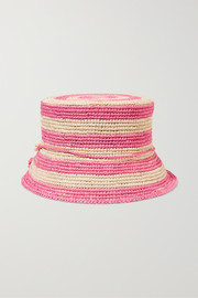 Embellished striped toquilla straw bucket hat