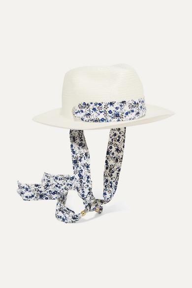 Floral-print poplin-trimmed toquilla straw Panama hat