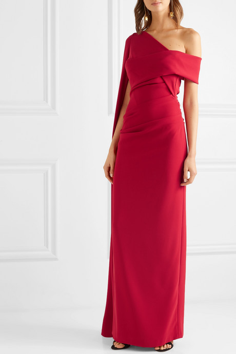 Rosedale one-shoulder cape-effect ruched stretch-crepe gown