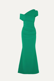 Talbot Runhof Moa one-shoulder ruched stretch-crepe gown