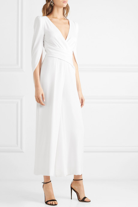 Silva cropped cape-effect ruched crepe jumpsuit