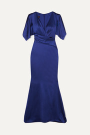 Talbot Runhof Socotra ruched satin gown