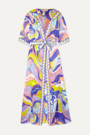 Emilio Pucci Hooded printed silk-georgette robe