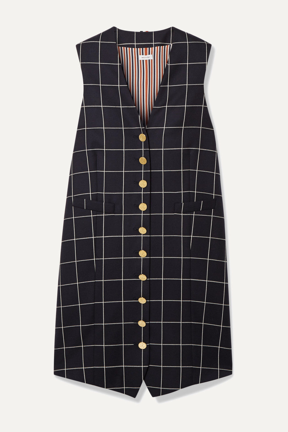 Thom Browne | Grosgrain-trimmed checked wool-twill mini dress | NET-A-PORTER.COM