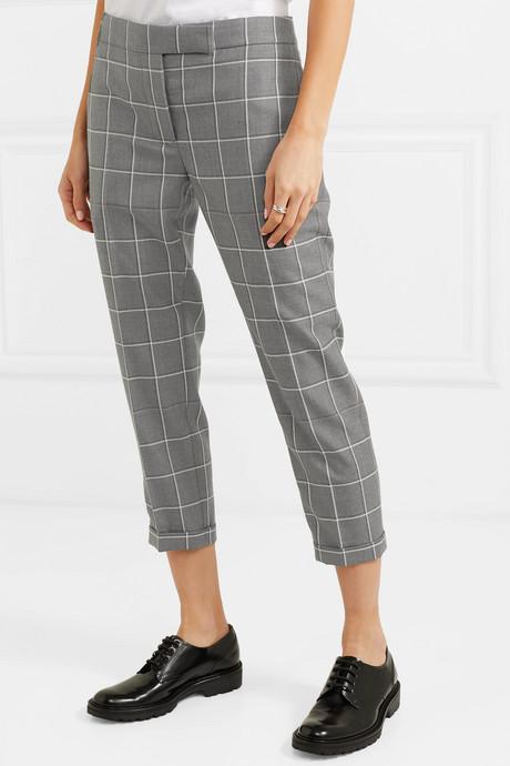 Checked cropped wool-twill slim-leg pants