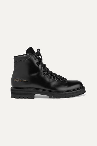 Common Projects Hiking Boot Combat Boots In Black Leather