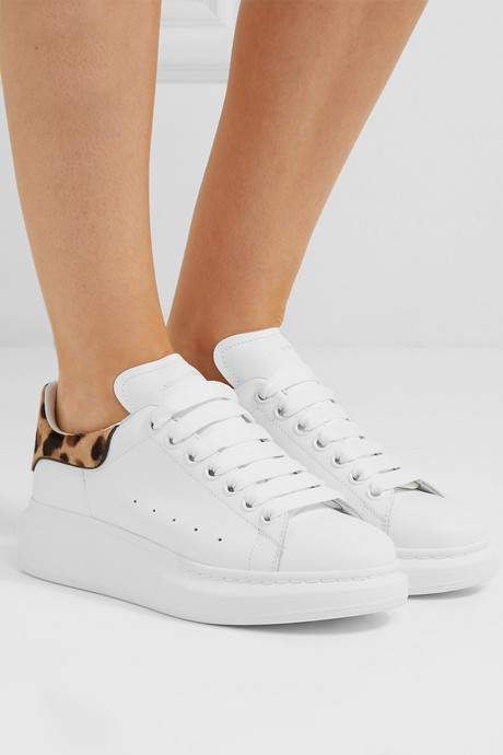 Calf hair-trimmed leather exaggerated-sole sneakers
